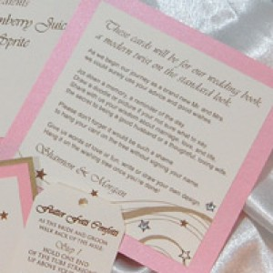 Gold and Pink Star Wedding Reception