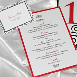 Black, White, and Red Swirl Reception Items