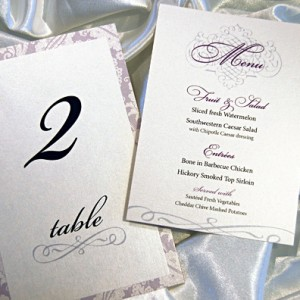 Purple Filigree Wedding Reception Items
