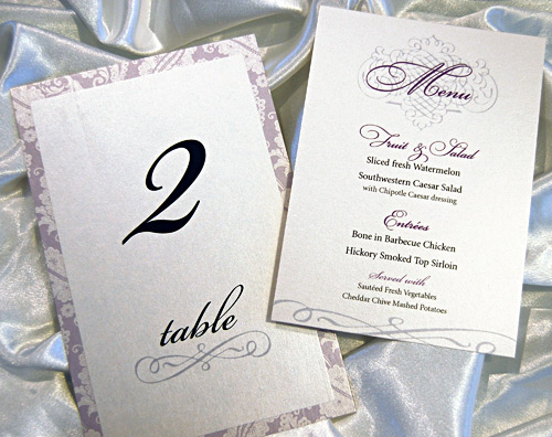 Wedding Reception TableNumber and Menu