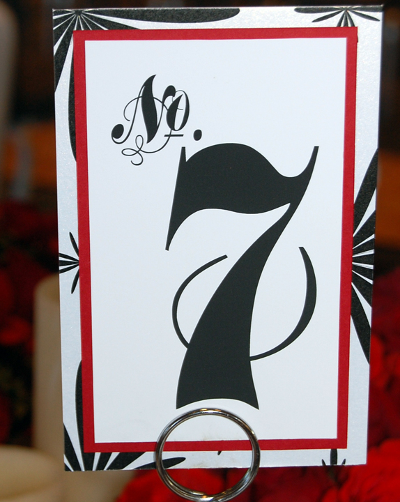 Red and Black Layered Reception Table Number
