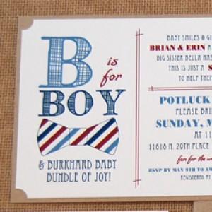 Bow Tie Pattern Baby Shower Invitation
