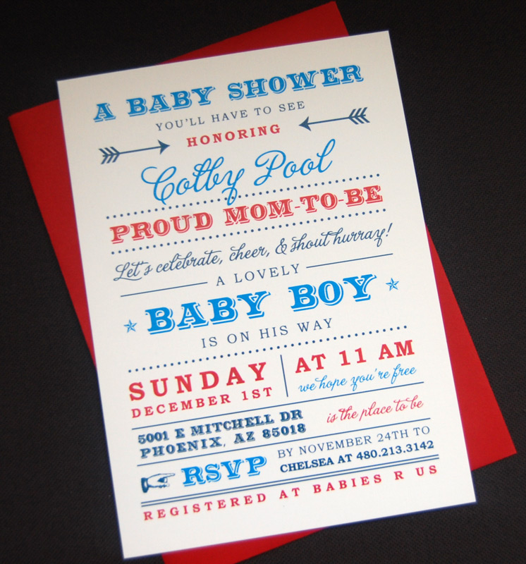 Modern Fonts Baby Shower Invitation
