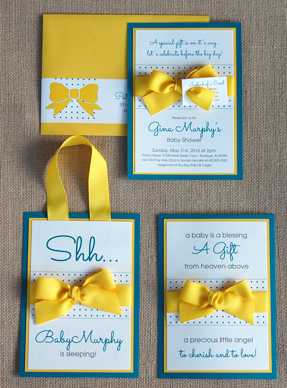 Ribbon Bow and Dots Baby Shower Items