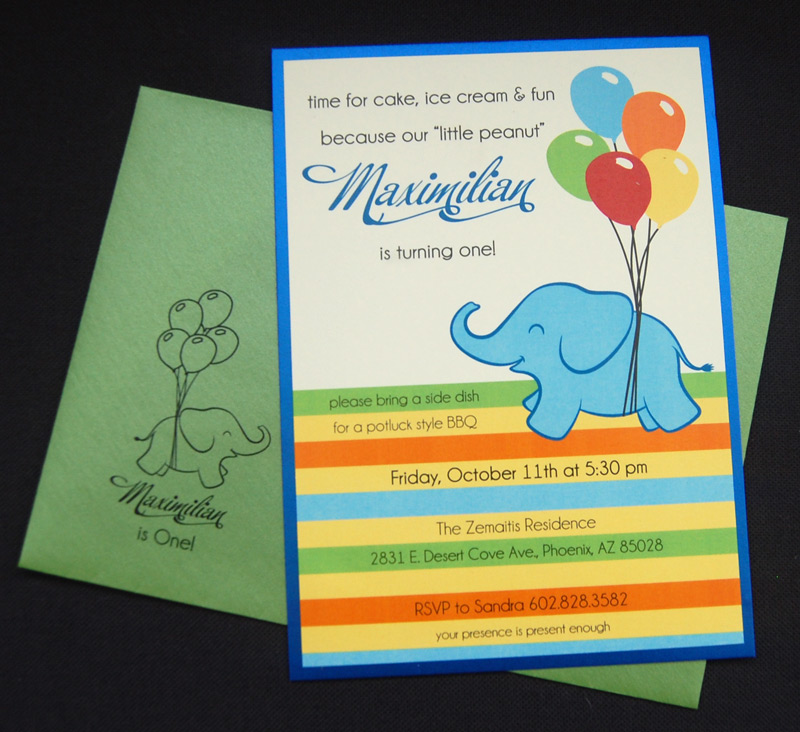 Colorful Elephant and Stripes Birthday Party Invitation