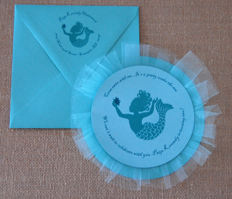 Mermaid Tull Circle Birthday Party Invitation