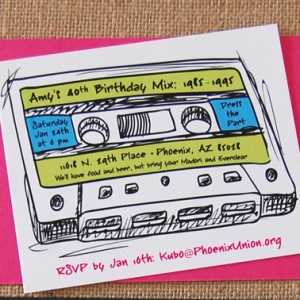 80's Mixed Tape Birthday Party Invitations