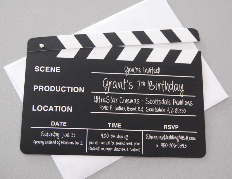 Movie Clapper Birthday Party Invitation