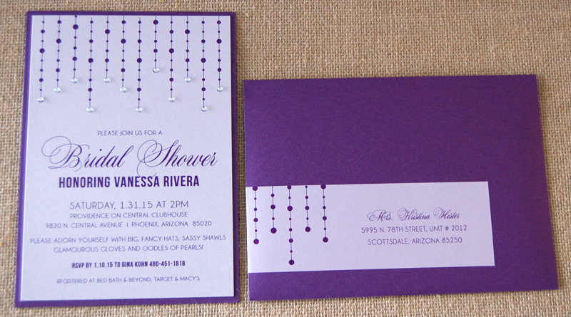 Purple Falling Diamonds Bridal Shower Invitation
