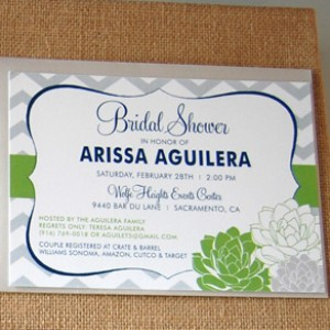 Chevron and Succulents Wedding Invitation