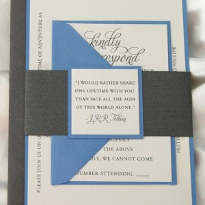 Blue and Grey Belly Band Wedding Invitation