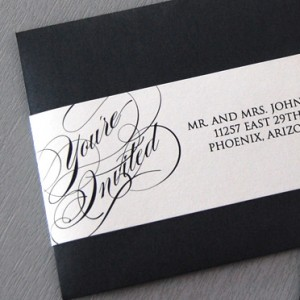 Blacktie Script with Rhinestone Invitation