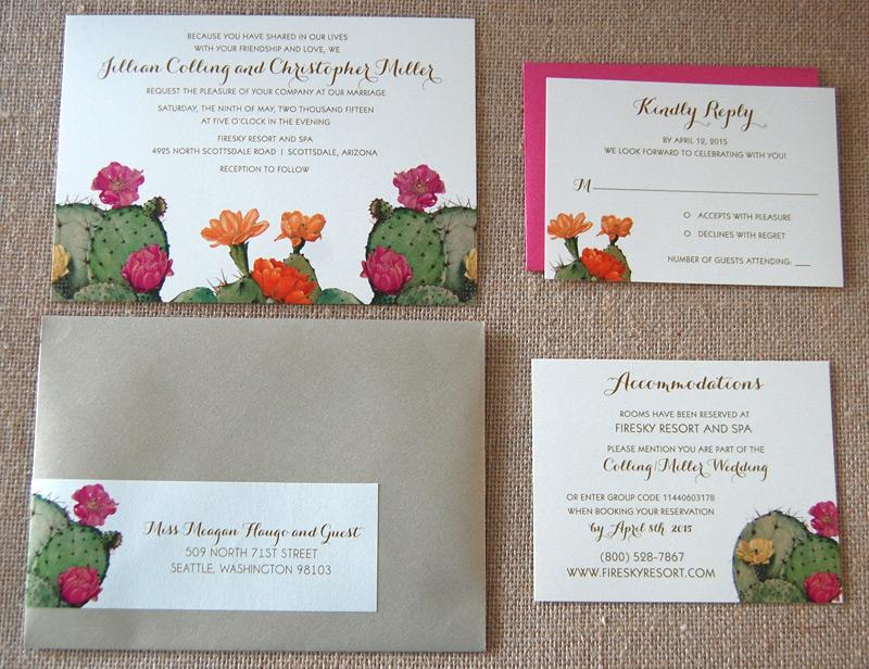 Pink Cactus Wedding Invitation