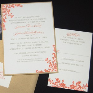 Gold and Coral Filigree Wedding Invitation
