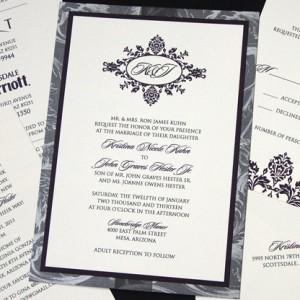 Grey Floral Monogram Wedding Invitation