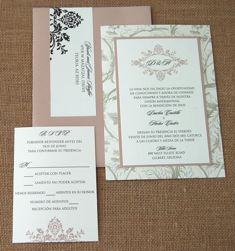 Traditional Floral Pattern Monogram Wedding Invitation