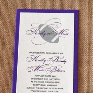 Layered Purple Football Wedding Invitation