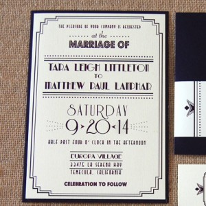 Great Gatsby Style Wedding Invitation