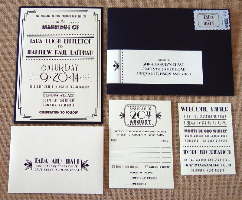 Great Gatsby Style Wedding Invitation