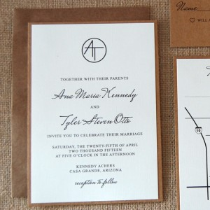 Simple Modern Kraft Wedding Invitation