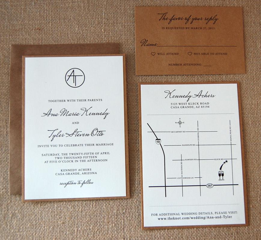 Simple Modern Kraft Wedding Invitation