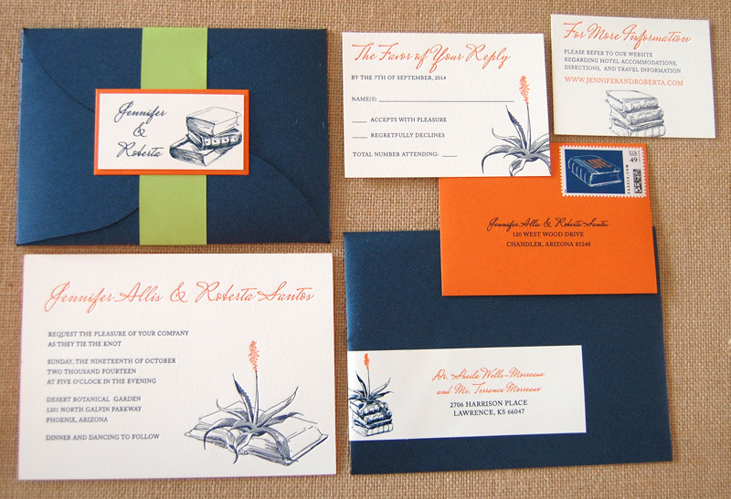 Books and Cactus Letterpress Wedding Invitation