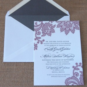 Floral Lace Letterpress Wedding Invitation