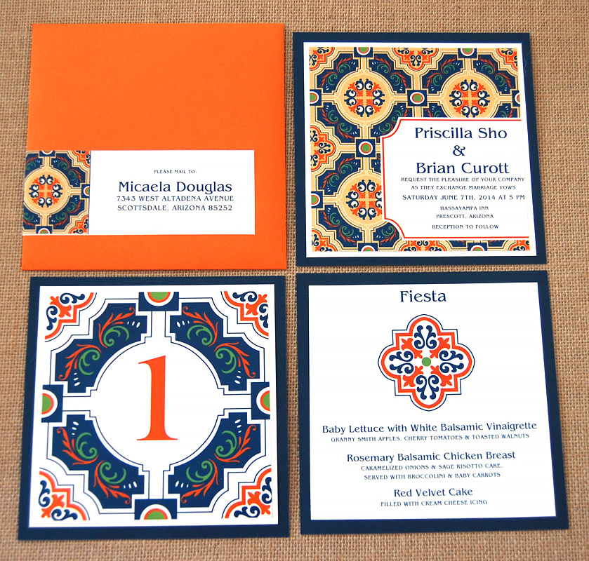 Mexican Tile Layered Wedding Invitation