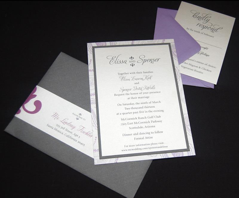 Patterned Purple RSVP and Wedding Invitation