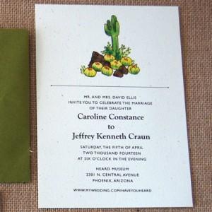 Watercolor Cactus Flat Wedding Invitation