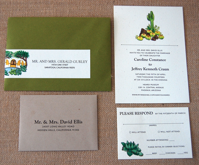 Watercolor Cactus Flat Wedding Invitation