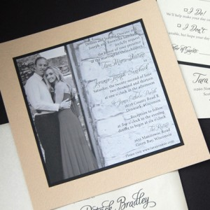 Black and White Square Photo Invitation