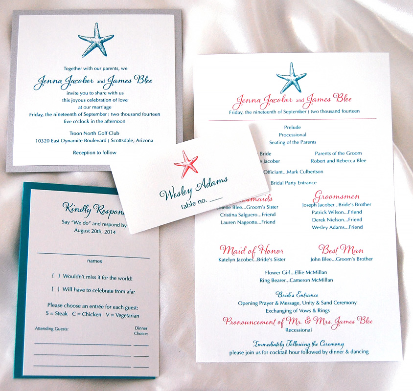 Shell and Starfish  Wedding Invitation