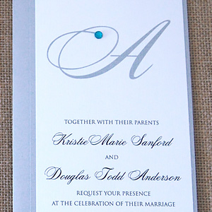 Script Monogram With Rhinestone Invitation