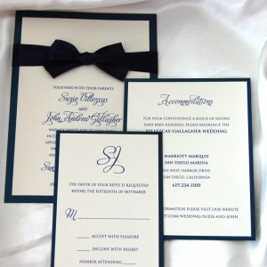 Layered Black Bow Tie Wedding Invitation