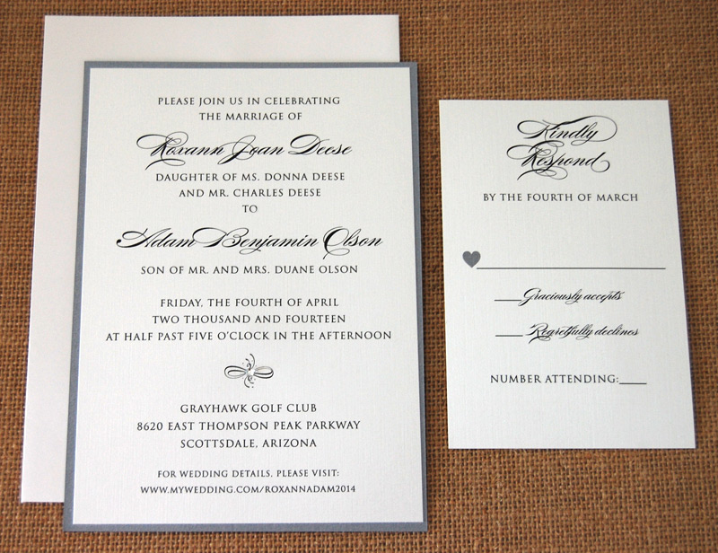 Layered Grey Script Wedding Invitation