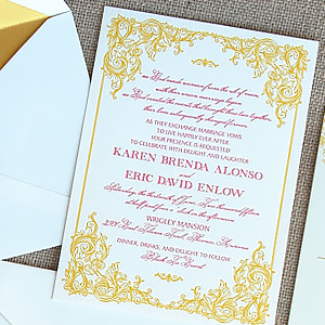 Gold Letterpress Filigree Invite with Wax Seal