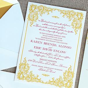 Gold Letterpress Filigree Invite with Wax Seal