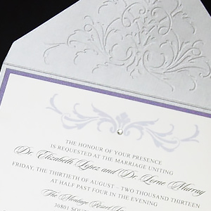 Embossed Filigree with Brooch Invitation
