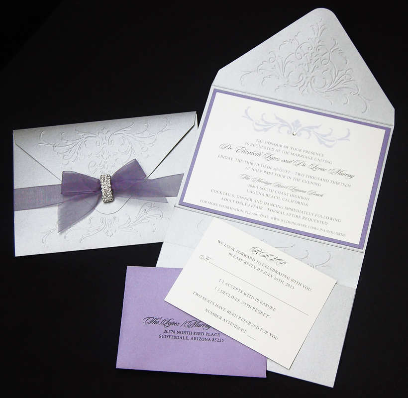 Floral Embossed with Brooch Wedding Invitation