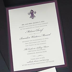 Fleur de Lis Pocket Wedding Invitation
