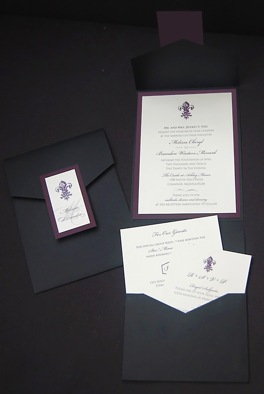 Fleur de Lis Pocket Wedding Invitation