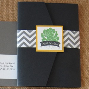 Chevron and Succulents Pocket Invitation