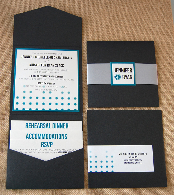 Modern Black and Blue Dots Wedding Invitation