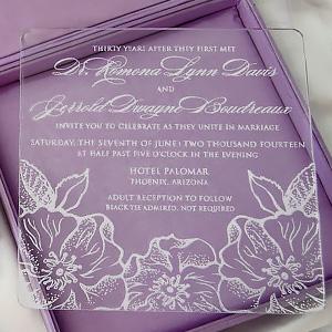Acrylic Wedding Invite In Silk Box with Brooch
