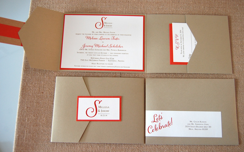 Red and Gold Pocket Wedding Invitation