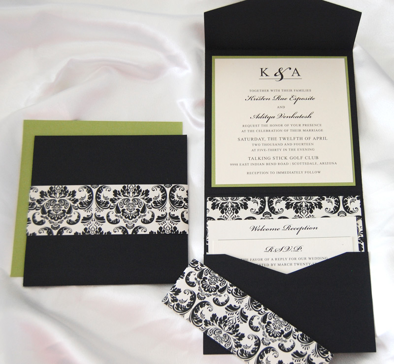 Black and White Scroll Pocket Invitation