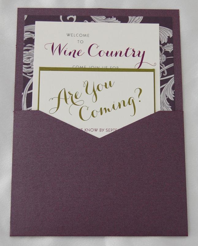 Wine Floral Patterned Pocket Invitation 2 of 2