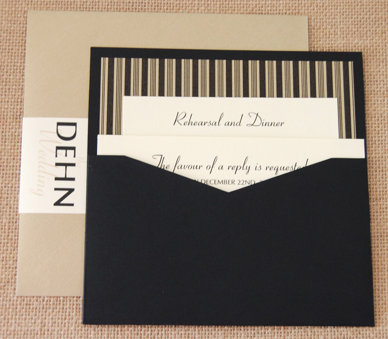 Simple Stripes Wedding Invitation - Back Cover