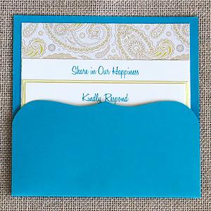 Blue and Yellow Paisley Pocket Invitation